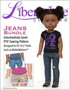 Liberty Jane Jeans Bundle Doll Clothes Pattern for WellieWishers Dolls | Pixie Faire