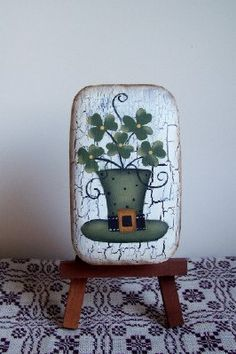 Primitive Handpainted St Patrick's Day Soap. $5.00, via Etsy.