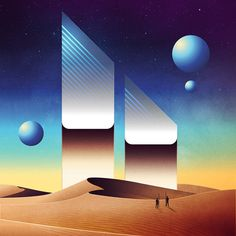 Impressive new series of futuristic digital illustrations entitled NeoWave Series, by illustrator James White. James White transferring us in a new planet with… James White, New Retro Wave, Retro Waves, Arte Sci Fi, Sci Fi Art, Science Fiction Art, Science Art, Vaporwave, Psychedelic Space