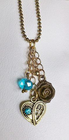Handmade purse charm / bronze flower charm / by CharmsAnTreasures