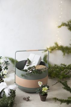 Wood basket Emma in the version Lichen, with vegetable tanned leather from Swedish tannery Tärsnjö. Hand made in France. Designed by Swedish designer Emma Olbers.