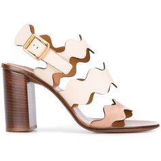 Chloé Lauren sandals (555 AUD) ❤ liked on Polyvore featuring shoes, sandals, beige, leather fringe sandals, bohemian sandals, ankle strap shoes, leather sole shoes and open toe sandals