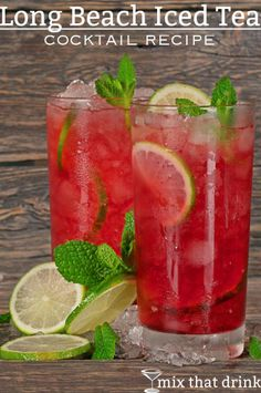 The Long Beach Iced Tea drink recipe is a refreshing alternative to the Long Island Iced Tea. This tart cocktail blends several liquors with lemon and cranberry juice. # Food and Drink ideas cranberry juice Long Beach Iced Tea Iced Tea Cocktails, Cocktail Drinks, Cocktail Recipes, Cocktail Movie, Cocktail Sauce, Cocktail Attire, Cocktail Shaker, Ice Tea Drinks, Juice Drinks