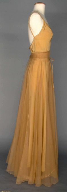 VALENTINA SILK EVENING SKIRT, 1930s tan silk illusion long open-front skirt w/ CF laced waistband, full length tan silk slip w/ braided narrow straps,