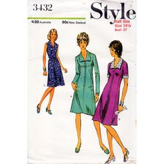 1970s Zip Front Dress Pattern Style 3432 Vintage by BessieAndMaive