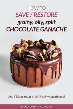 How to Fix & Prevent Split/Oily/Grainy Chocolate Ganache Fix split chocolate ganache to be smooth & shiny! 😀 Click through for all the tips you need to fix and prevent split/oily/grainy chocolate ganache. Chocolate Pies, Homemade Chocolate, Chocolate Ganache, Baking Chocolate, Home Bakery Business, Baking Business, Fancy Cupcakes, Baking Cupcakes, Home Baking