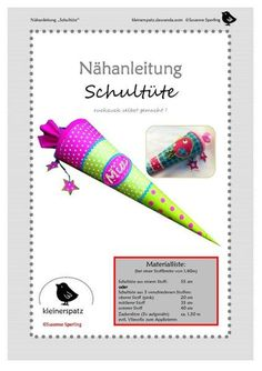 Sewing instructions, Schultüte ruckzuck - Fabric Crafts for Diy and Crafts Sewing Projects For Kids, Crafts For Kids, Diy And Crafts, Sewing Tutorials, Sewing Patterns, Orange Fabric, Sewing Toys, Art Wall Kids, Diy Hacks