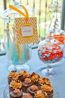 Orange chevron dessert table tags: Baby Christian's Orange & Blue Baby Shower | You're Welcome Events