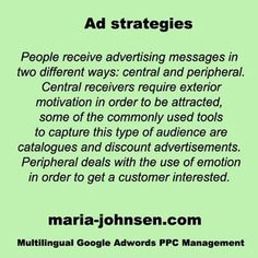 Central and peripheral advertising Advertising Strategies, Used Tools, Management, Language, Ads, Messages, Motivation, Languages