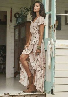Auguste -Valentines Muse Maxi Dress Vintage Blooms Musk-Boho Dress--looks similar to McCall's 7119 Trendy Dresses, Casual Dresses, Maxi Dresses, Maxi Skirts, Wedding Dresses, Wrap Dresses, Boho Dress, Dress Up, Dress Boots