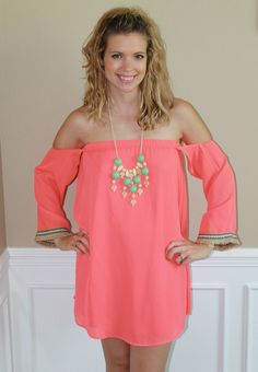 Magnolia Mill Take Me Dancing Dress, summer, coral, love, romantic, off shoulder, ootd, lotd, outfit,