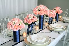 Tall Centerpieces for wedding in Pink and Navy blue Theme – Wedding Centerpieces Navy Wedding Centerpieces, Pink Wedding Receptions, Blush Centerpiece, Wedding Decorations, Wedding Ideas, Navy Blush Weddings, Blue And Blush Wedding, Wedding Navy, Gender Reveal Decorations