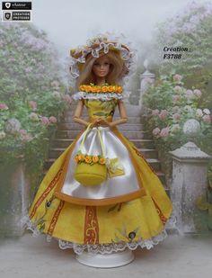 """Robe Barbie """" Amiel """" Tenue Provençale pour poupée Barbie Fashion Royalty…"""