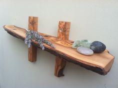 Olive Wood Wall Shelf 19.75  long. Handmade by TheTreeLinedHome, $55.00