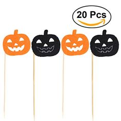 Tinksky 20pcs Halloween Cupcake Toppers Pumpkin Cake Picks for Halloween Party Favors (Black and Orange Color Randomed)