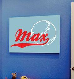 Children Decor Baseball Wall Decal  Boys Sports Name
