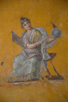 Fresco fragments depicting Urania (Muse of Astronomy), 62-79 AD, from Pompeii