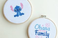 Ohana means family, and what better way to express your love for Lilo & Stitch than with a cross stitch pattern featuring Experiment 626 himself? Print the pattern and create a set of two cross stitch hoops to display in your family room. Don't forget to share your finished cross stitch project with us! Tag...