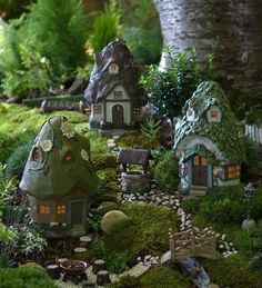 Create a delightful miniature fairy garden with our detailed Round Solar Fairy Houses that light up at night. Our weatherproof resin fairy houses make any mi… Mini Fairy Garden, Fairy Garden Houses, Solar Fairy House, Fairy Village, Fairy Tree, Deco Nature, Fairy Furniture, Gnome House, Beautiful Fairies