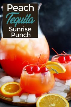 Peach Tequila Sunrise Punch is a magically colorful cocktail that will be the centerpiece of your next gathering! The juicy peach flavor gives the classic drink a boost of sunshine without making the cocktail itself overly sweet. Colorful Cocktails, Summer Cocktails, Cocktail Drinks, Cocktail Recipes, Margarita Recipes, Tequila Punch, Tequila Drinks, Alcoholic Drinks, Punch Drink