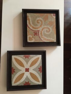 Hydraulic/cement rescued tile frames from Barcelona Cement, Coasters, Tiles, Barcelona, The Past, Frames, Pretty, Mesas, Wall Tiles