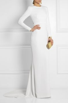 Stella McCartney - Renee open-back crepe gown Stella Mccartney, Belle Silhouette, Giuseppe Zanotti, White Gowns, Kenneth Jay Lane, Crepe Dress, Beautiful Gowns, High Fashion, Tennis Fashion
