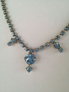 Vintage 1960's Blue Glass Rhinestone Collar by mccoyblingandthings, $31.00  Get 25% off use coupon code mcbat612 at checkout.
