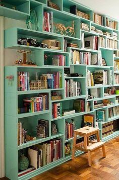 Painted bookshelves #lucitegreen