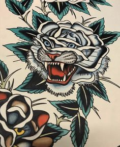 Tiger flower// not my work Traditional Tattoo Animals, Traditional Tiger Tattoo, Traditional Tattoo Design, Body Art Tattoos, Sleeve Tattoos, Desenhos Old School, Old School Tattoo Designs, Modern Tattoos, Tattoo Sleeves