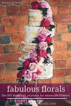 Want to make your wedding cake FABULOUS? Buy Bulk wholesale flowers at Fabulous Florals online : www.bulkwholesaleflowers.com #weddingcake #nakedcake