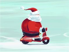 Scooter Santa after effects snow winter vespa scooter christmas santa paint gif