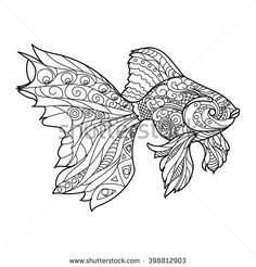 Gold fish coloring book for adults vector illustration. Anti-stress coloring for adult. Zentangle style. Black and white lines. Lace pattern