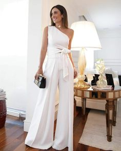 Fashion Pure Colour Off-Shoulder Jumpsuit White Outfits, Sexy Outfits, Jumpsuit Elegante, Bridal Jumpsuit, Off Shoulder Jumpsuit, Evening Dresses, Summer Dresses, Pinterest Fashion, Mode Outfits