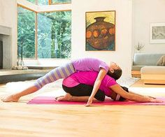 Tone your muscles and calm your minds with these simple stretches for two.