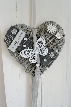 Door wreath willow heart gray / white butterfly 35 cm - Lilly is Love Silver Christmas Decorations, Christmas Crafts, Wicker Hearts, Creation Deco, Heart Crafts, Hanging Hearts, White Butterfly, Mothers Day Crafts, Hand Embroidery Patterns