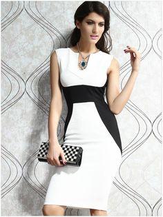 2016新しい! 夏の ドレス vestidos レディース エレガント な ワーク オフィス鉛筆ドレス ボディ コンス リム春セクシー な ビジネス服装黒white3