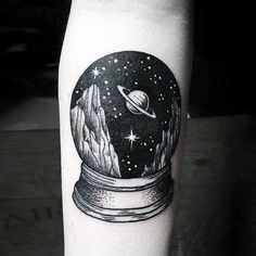 50 Small Unique Tattoos For Men – Cool Compact Design Ideas Awesome Small Unique Mens Snow Globe Outer Space Forearm Tattoo Tattoo On, Piercing Tattoo, Body Art Tattoos, New Tattoos, Tattoos For Guys, Piercings, Tattoos On Forearm, Tatoos, Loss Tattoo