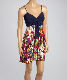 Look what I found on #zulily! Navy Blue Floral Empire-Waist Dress by Avital #zulilyfinds http://www.zulily.com/invite/kcrim608