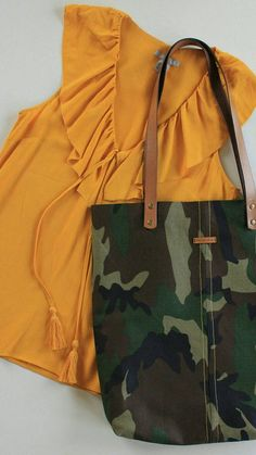 Canvas Camouflage Tote Bag - Metal Zipper Organizer Bag Present - Handmade Bag - Genuine Leather Handle - Canvas Bag - Shoulder Shopper Bag