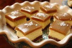 Use this recipe for caramel! (DH) Salted Caramel Cheesecake Squares recipe from Ree Drummond via Food Network Ree Drummond, Köstliche Desserts, Delicious Desserts, Dessert Recipes, Doritos Recipes, Fennel Recipes, Drink Recipes, Holiday Desserts, Vanilla