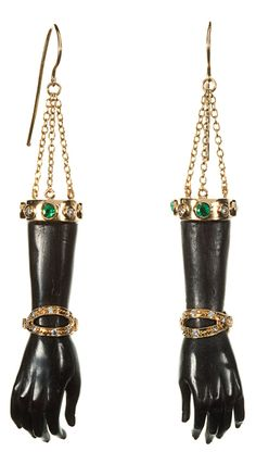 Wilfredo Rosado | Fine Jewerly Hand to Hand earrings from Blackamoor collection. Hand carved ebony wood with 18k gold, diamonds and colored stones. Handmade in Italy.