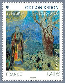 ''Le Bouddha '' by Odilon Redon France postage stamp, Stamp World, Odilon Redon, Old Stamps, Fun Mail, Buddha Painting, Postage Stamp Art, Art Moderne, Small Art, Stamp Collecting