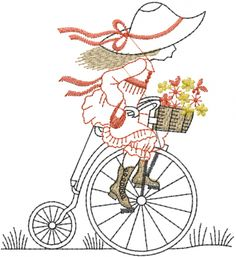 Girl Antique Bicycle embroidery design AnnTheGran.com
