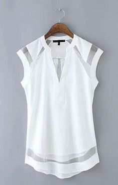 awesome Transparent Patchwork Tank Top Blouse