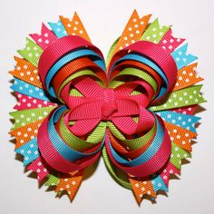 """4"""" Summer Hot Pink Orange Lime Blue Polka Dots Stacked Hair Bow"""