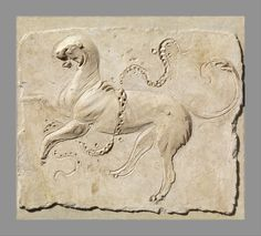 Stucco relief panel. Early Imperial, 2nd half of 1st century A.D. Roman. The panther, an animal often associated with Dionysos, leaps in the air with a garland wrapped around him.