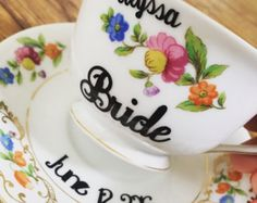 Personalized Antique Vintage China Tea Cup for the Bride to be