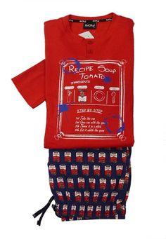"""ENVÍO 24-48h. Pijama Soy Underwear. Camiseta de manga larga color rojo, estampación de letras impresas con referencias a la lata de Sopa de Tomate """"Campbell"""". http://www.varelaintimo.com/marca/23/soy"""