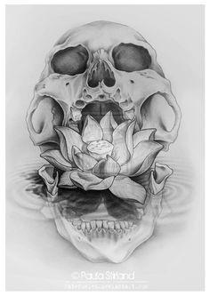 Caveira flor de lótus