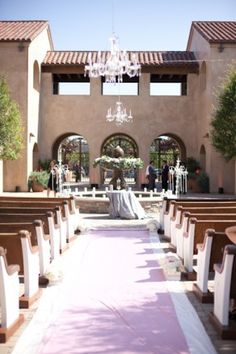 Outdoor Church Pews Wedding Ceremony and the Very First Wedding at Serra Plaza to Hang Chandeliers in the Courtyard